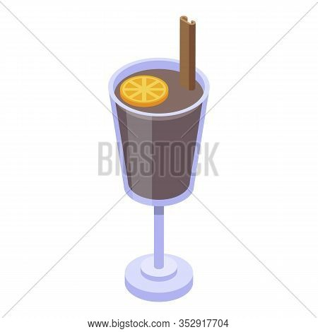 Mulled Wine Icon. Isometric Of Mulled Wine Vector Icon For Web Design Isolated On White Background