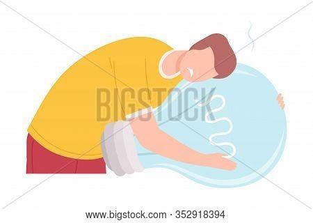 Businessman Character Having No Idea, Depressed Unsuccessful Person Feeling Stress, Hugging Big Ligh