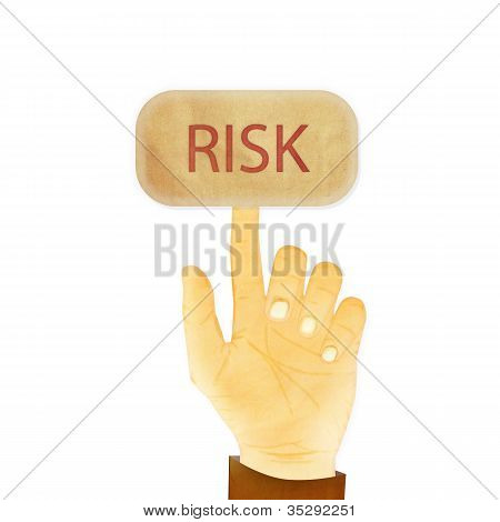 Paper Texture ,hand Gesture Pointing At Risk Button