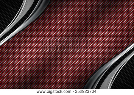 Red And Black Carbon Fiber And Curve Chromium Frame. Metal Background And Texture. Material Design.