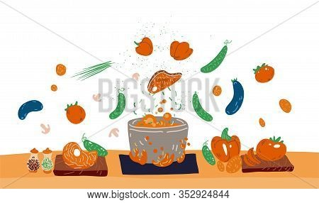 Making Soup Vector Concept. Pot With Bulbing Delicious Food On A Fire And All Ingredients Around It