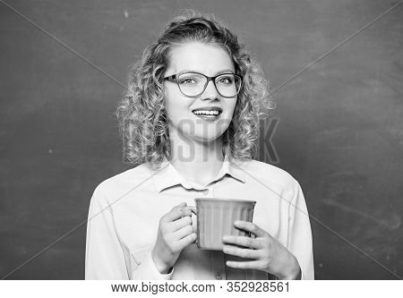 Breakfast Time. Woman With Coffee Cup At Blackboard. Good Morning. Girl Refreshing With Tea Drink. E