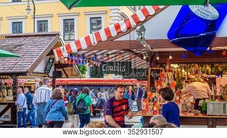 MUNICH, GERMANY, JUNE 4, 2017: TOURISTS AT THE BEER FESTIVAL in the center of Munich.