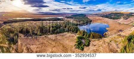 Aerial View Of Peatbog Next To The Town Glenties In County Donegal - Ireland