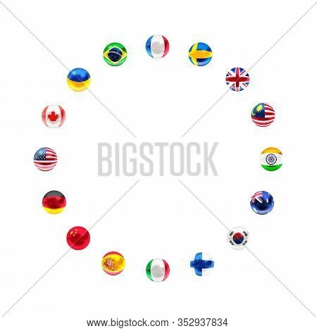 Sphere Shaped Flags Of Sovereign States Arranged In Circle Frame On A White Background