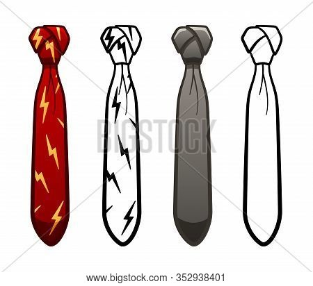 Necktie With Cape Knot In Four Variants Set On White Background