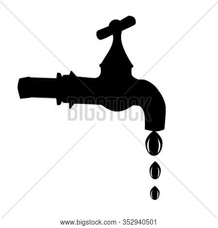 Tap Icon Isolated On White Background. Water Stopcock Logo Template. Dripping Faucet Black Sign Silh