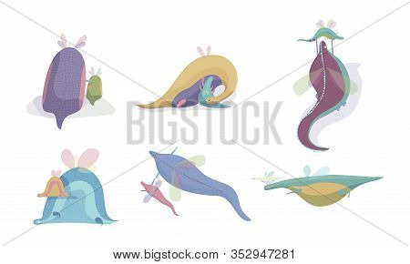 Cute Winged Dragons Playing With Their Cubs Vector Set