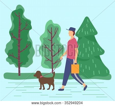 Male Character Walking Dog On Leash In Summer Park. Man And Puppy In Spring Forest. Personage Stroll