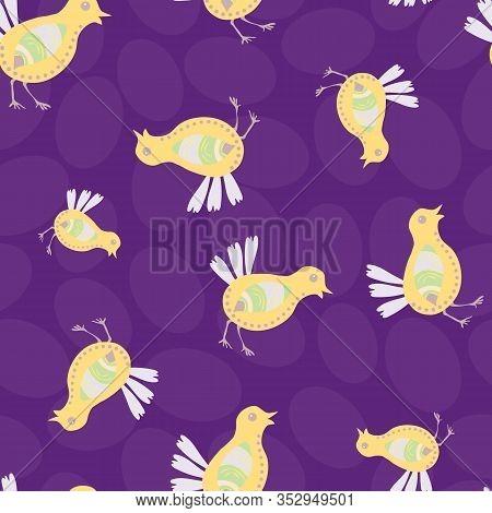 Easter Chick Seamless Vector Pattern Background. Decorated Bird Folk Art Illustration. Scandinavian