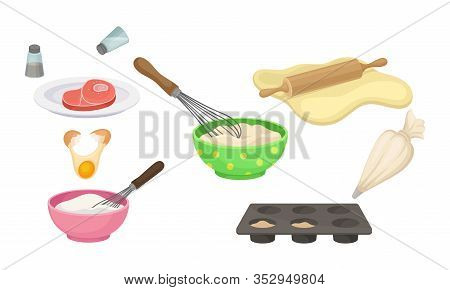 Cooking Process With Mixing, Rolling Out Pastry And Curing Bacon Vector Set