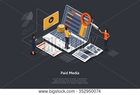 Paid Media Marketing Concept, Pay Per Click, Ppc Campaign, Marketing Platform, Online Documentation