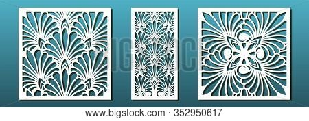 Laser Cut Template Set, Abstract Floral Geometric Pattern. Panel Decor, Metal Cutting, Wood Carving,