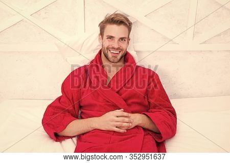 Bath Is My Luxury. Happy Man Wearing Bath Robe In Morning. Sexy Guy Smiling After Bath. Enjoying Bat