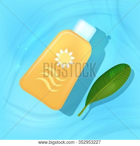 Sun Protection Lotion Or Cream Floating In Blue Water With A Fresh Green Leaf