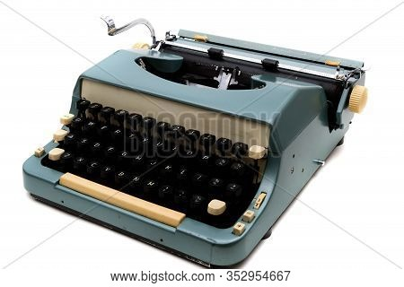 A Typewriter Isolated On A White Background