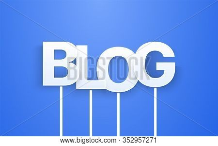 White Blog Text On Blue Background. Vector Letters On Sticks. Printable Photo Booth Props.