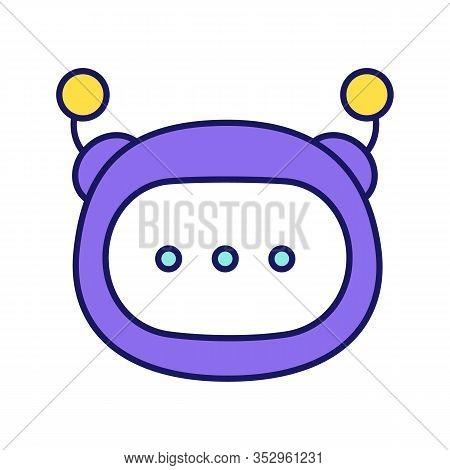 Chatbot Message Color Icon. Chat Bot. Artificial Conversational Entity. Virtual Assistant. Digital S