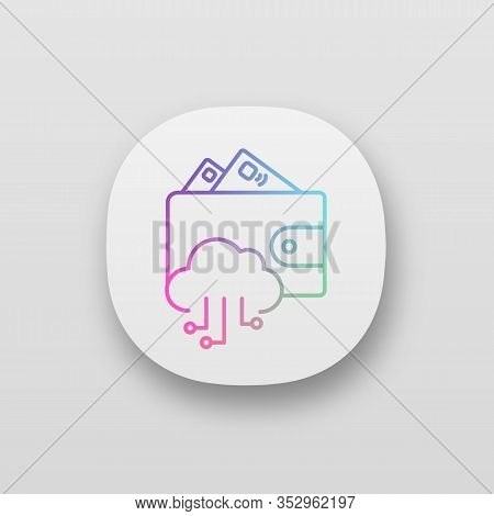 E-wallet App Icon. Online Money. Ui Ux User Interface. E-payment. Digital Wallet And Cashless Paymen