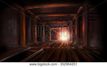 Illustration Of Underground Mine Empty Dark And Abandoned