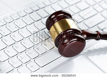 Gavel At The Computer Keyboard
