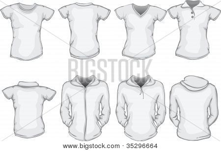 Women's Shirts Template In White