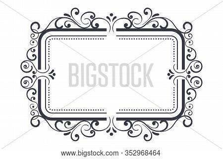 Vintage Ornamental Frame. Vector Illustration Isolated On White Background