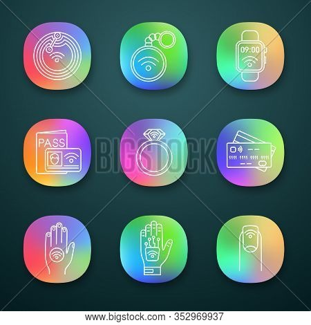 Nfc Technology App Icons Set. Near Field Chip, Trinket, Smartwatch, Identification System, Ring, Cre