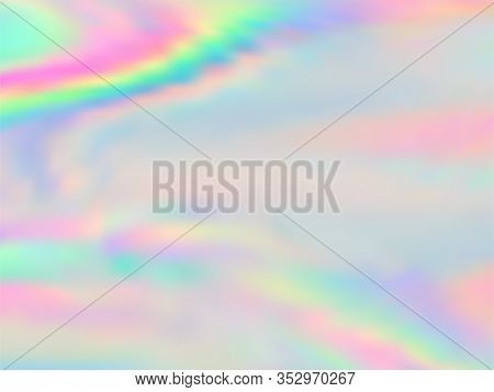Holographic Gradient Neon Vector Illustration. Lucent Pastel Rainbow Unicorn Background. Hologram Co