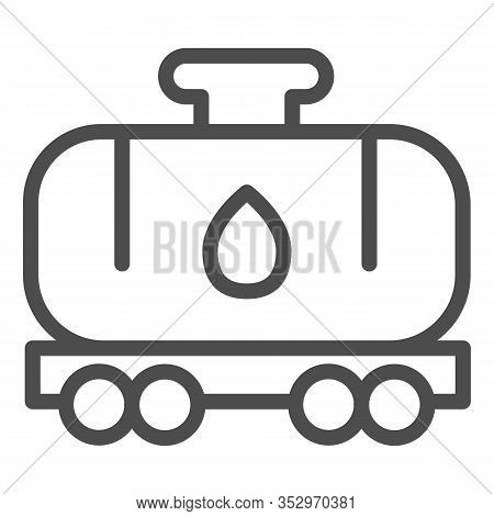 Tank Wagon Line Icon. Chemical Fuel Railroad Wagon. Oil Industry Vector Design Concept, Outline Styl