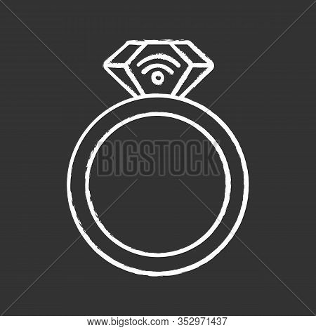 Nfc Ring Chalk Icon. Near Field Communication. Rfid Transponder. Smart Ring. Contactless Technology.
