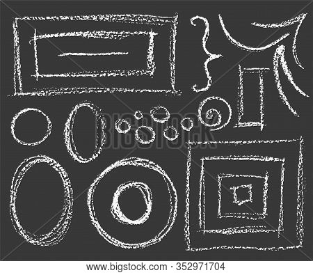 Set Of Chalk White Frames On Dark Background, Circles, Rectangles And Corners
