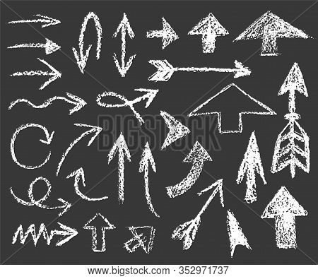 Set Of White Chalk Arrows Of Different Shapes And Directions