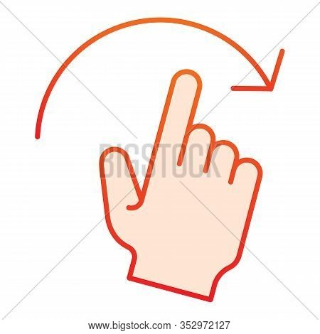 Swipe To Right Flat Icon. Flick Right Vector Illustration Isolated On White. Hand Gesture Gradient S