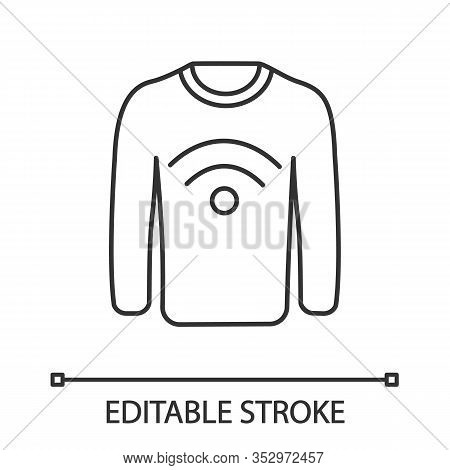 Nfc Clothes Linear Icon. Near Field Communication Sweater. Thin Line Illustration. Rfid Tag. Contact