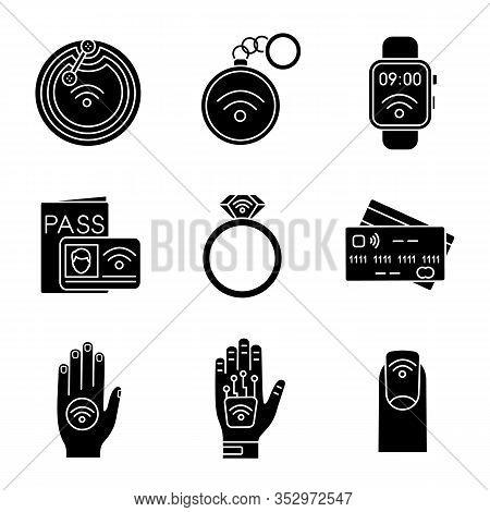 Nfc Technology Glyph Icons Set. Near Field Chip, Trinket, Smartwatch, Identification System, Ring, C