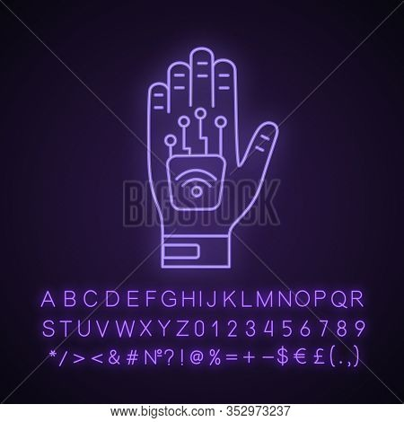 Human Microchip Implant In Hand Neon Light Icon. Nfc Implant. Implanted Rfid Transponder. Glowing Si