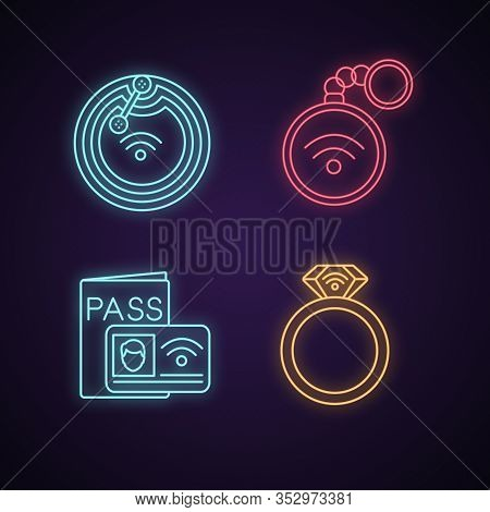 Nfc Technology Neon Light Icons Set. Near Field Chip, Trinket, Identification System, Ring. Glowing