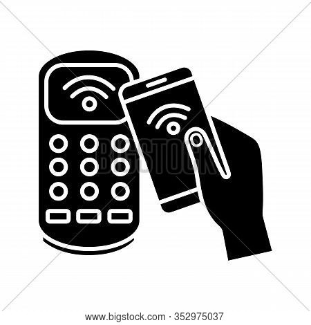 Nfc Smartphone Payment Glyph Icon. Silhouette Symbol. Nfc Phone And Pos Terminal. Near Field Communi