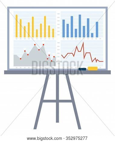 Board Used In Presentation On Meeting. Whiteboard With Reports Information And Statistics. Charts An