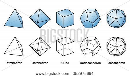 Blue Platonic Solids And Black Wireframe Models, All Bodies With Same Size. Regular Convex Polyhedro