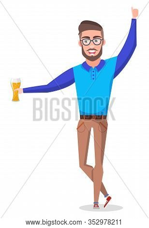 Partying Man Holding Alcoholic Beverage In Hand Vector, Isolated Character Having Fun. Bachelor Drin