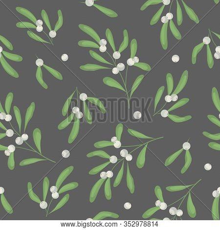 Vector Seamless Pattern With Mistletoe Twigs On Dark Gray Background; White Mistletoe For Fabric, Wa