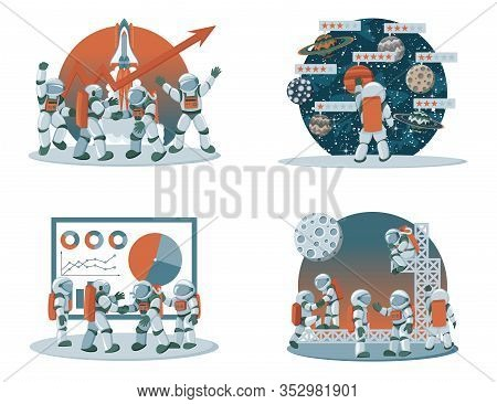 Flat Spaceman Cartoon Vector Illustrations For Business Design And Infographic