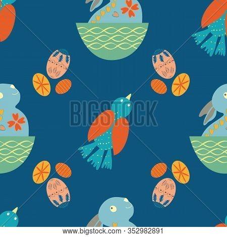 Cute Easter Bunny Seamless Vector Pattern Background. Decorated Folk Art Rabbits, Birds, Eggs Illust