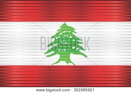 Shiny Grunge Flag Of The Lebanon - Illustration,  Three Dimensional Flag Of Lebanon