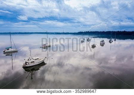 Aerial view of marina on the river in Beaufort, South Carolina.