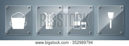 Set Spatula , Glass Bottle With Milk And Glass , Windmill And Bakery Bowl Dough . Square Glass Panel