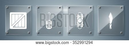 Set Military Knife , Detonate Dynamite Bomb Stick And Timer Clock, Military Dog Tag And Military Amm