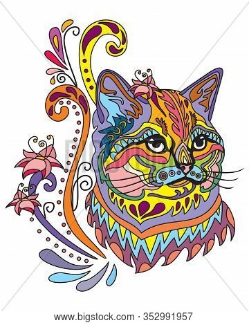 Colorful Abstract Doodle Ornamental Portrait Of Fluffy Cat. Decorative Vector Illustration In Differ